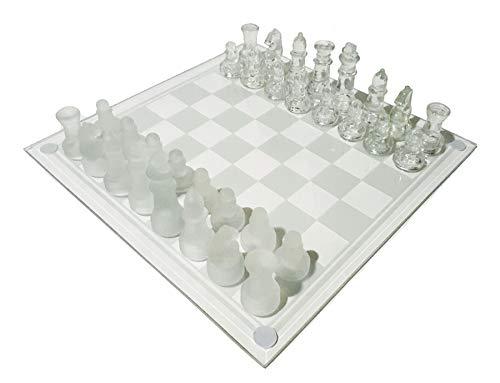 スタイリッシュ クリスタル チェス セット(駒+チェス盤) クリアガラス+フロストガラスの全ガラス製