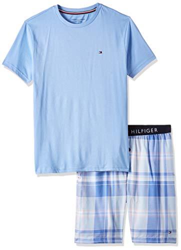 Tommy Hilfiger Herren Cn Ss Short Woven Set Check Zweiteiliger Schlafanzug, Blau, Medium (Herstellergröße:)