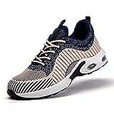 HOUJIA Zapatos de Trabajo Botas de Seguridad Zapatos de Seguro Laboral con amortiguación de Aire Four Seasons Respirable,Desodorante,Puntera de Acero Liviana,Anti-aplastamiento Anti-Perforaciones