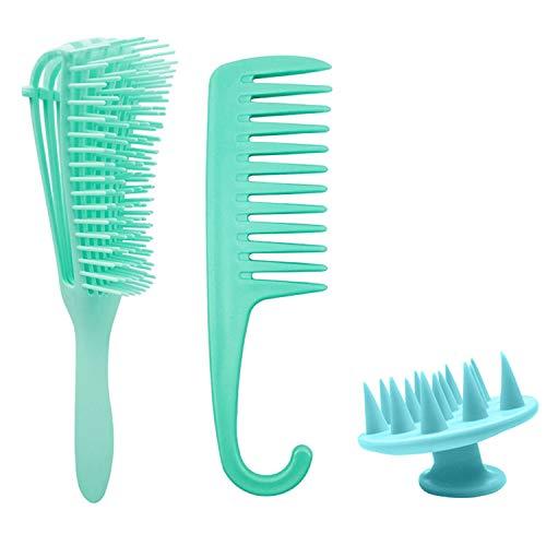 Heritan Cepillo de pelo desenredante, cepillo de champú y peine de dientes anchos para Afro America texturizado 3A a 4C rizado verde