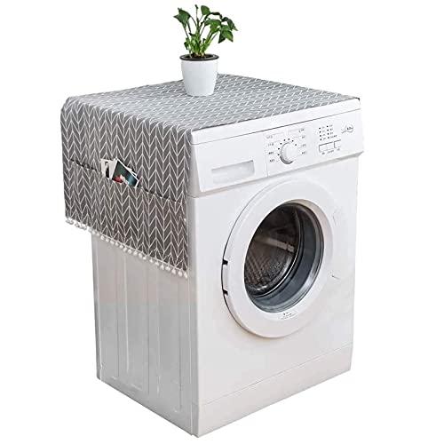 Cubierta de Polvo Superior del Refrigerador Cubierta Antipolvo para Lavadora Refrigerador Cubierta de Funda para Lavadora Polvo con Bolsa de Almacenamiento 130cm*55cm para Refrigerador y Lavadora