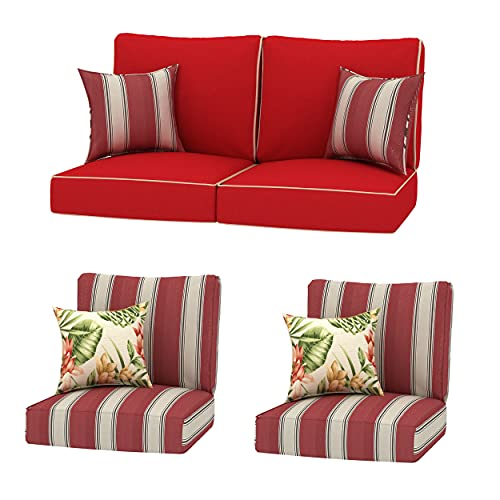 Creative Living 4PC Chat Group Outdoor Deep Seating Refresh Patio 24x24 Replacement Cushions with Decorative Pillows, 14 Piece Set, Red Mix
