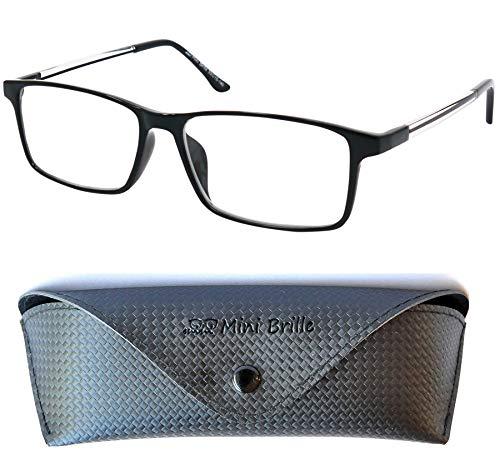 Line Gaming Brille ohne Sehstärke mit rechteckigen Gläsern, GRATIS Brillenetui, TR90 Kunststoff Rahmen (Schwarz), Blaulichtfilter Gamer Brille ohne Dioptrien Herren und Damen