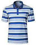 Dry Fit Striped Golf Shirts for Men Stretch Moisture Wicking Lightweight Polo T Shirt Blue Medium