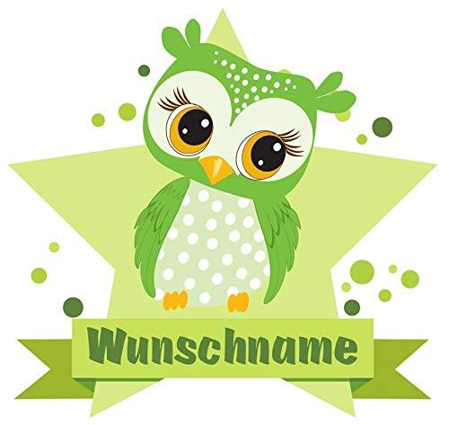 Samunshi® Grüne Eule Wandtattoo Türschild mit Name personalisierbar Kinderzimmer Türaufkleber Baby Wandaufkleber in 9 Größen (70x61cm Mehrfarbig)