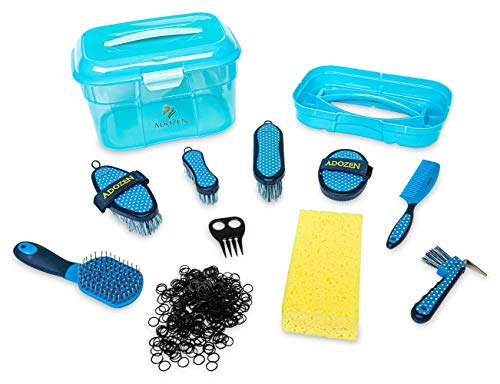 Adozen Pferde-Putzbox XL mit Inhalt für Kinder und Erwachsene | 10-Teilig befüllt | Soft Touch Antirutschgriffe | Blau mit weißen Punkten