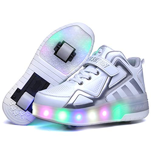 Wasnton Zapatillas con Dos Ruedas para Niño y Niña LED Luces Skate Roller con...