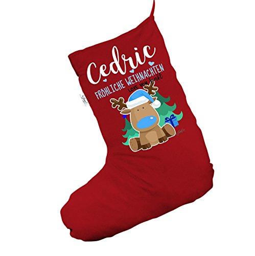 Personalizzato renna dal naso blu Fröhliche WEIHNACHTEN Jumbo rosso 'calza di Natale