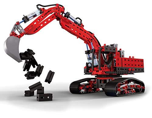 fischertechnik 548888 Hydraulik Spielzeug Bagger für Kinder mit realitätsnaher Hydraulik-Funktion und Baggerschaufel, 5 Modelle, Schauffelbagger, Pistenraupe & Versuchsmodelle, Konstruktionsspielzeug