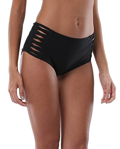ALove Women Black Bikini Shorts High Waist Board Short Swimsuit Bottom L
