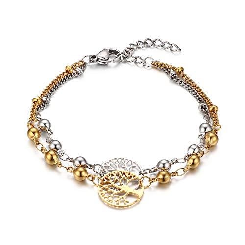 Flongo Damesketting, damesarmband, dames, armband, ketting, parels, bolletjes, levensboom, hanger, pantserketting, goud, zilver, elegant voor dames