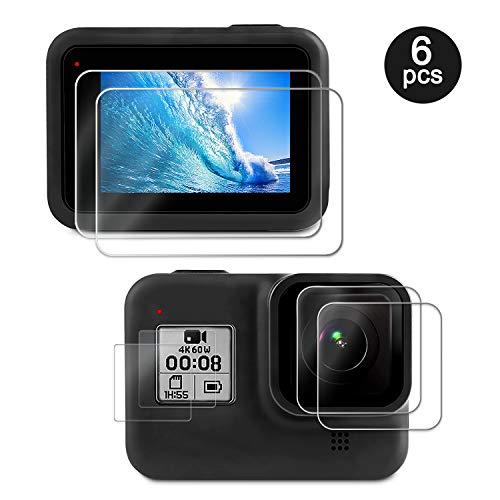 Deyard Displayschutzfolie für GoPro Hero 8 Schwarz, 4 Stück Ultra Clear Panzerglas Displayschutzfolie + 2 Stück Display HD Schutzfolien Linsenschutz Zubehör