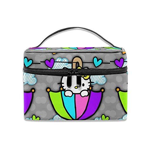New-WWorld-Shop Kosmetiktasche Regenschirm Hallo Kit-t/y Tragbare Reise Make-up Tasche Kosmetik Organizer Multifunktions-Kulturbeutel Aufbewahrungskoffer