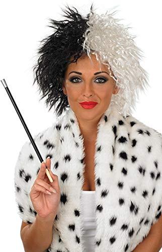 Peluca y boquilla de cigarrillo para disfraz de Cruella de Vil, para adultos, accesorios