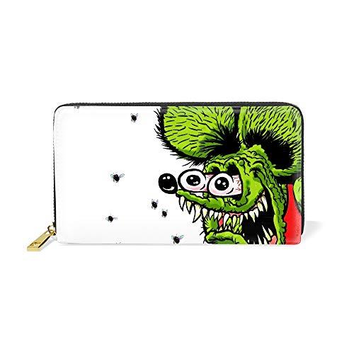 Women Zipper Wallet Humor Rat Fink Clutch Purse Phone Credit Card Holder