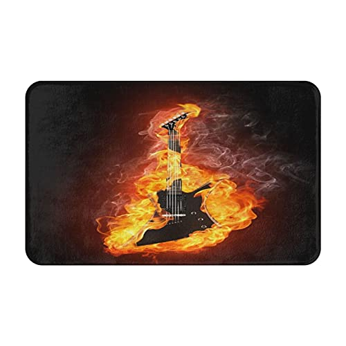 CVSANALA Antideslizante Suave Alfombra de Baño,Guitarra eléctrica In Fire Cool Rock Roll Tema Musical,Micro Personalizado Decoración del Hogar Baño Alfombra de Piso,80 x 49 CM