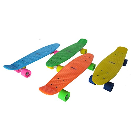 Unibest Skateboard Mini Cruiser Board Rollbrett Retro-Board 55x14cm Farbenauswahl - grün