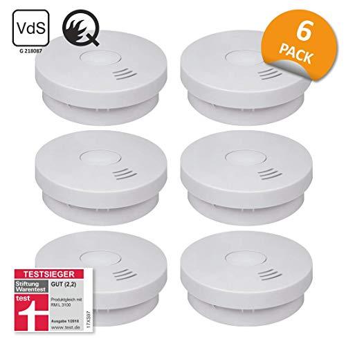 ELRO FS9010 6-er Set Rauchmelder mit 10 Jahre Batterie-Q-Label, VDs & StiWa Testsieger, 6 Stück