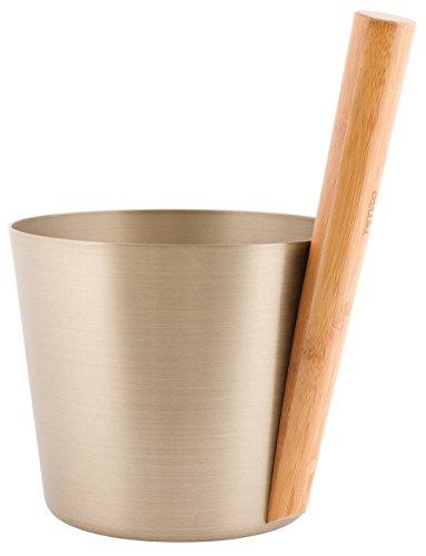 Well Solutions® designt by Rento / 5 Liter Saunakübel/aus Aluminium mit hochwertigem Bambus-Griff/Farbe Champagner (silber)