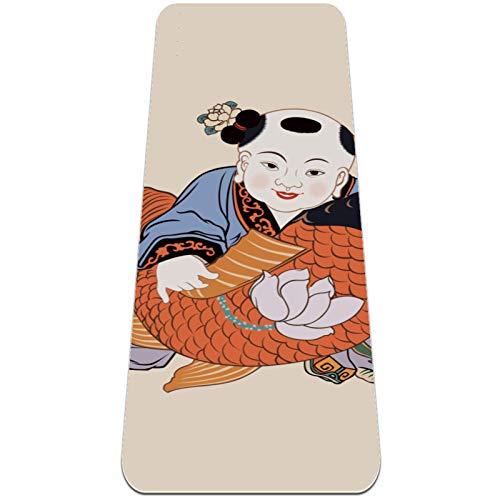 Clásico 1/4 pulgadas grueso Pro Yoga Mat Eco amistoso antideslizante Fitness ejercicio Mat Año Nuevo chino Fuwa Fish Lotus