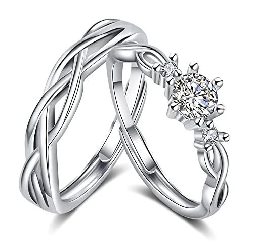 Juliyeh Anillos de pareja de plata 925,anillos pareja,alianzas pareja Exquisito empaque de caja de rosas, ajustable.
