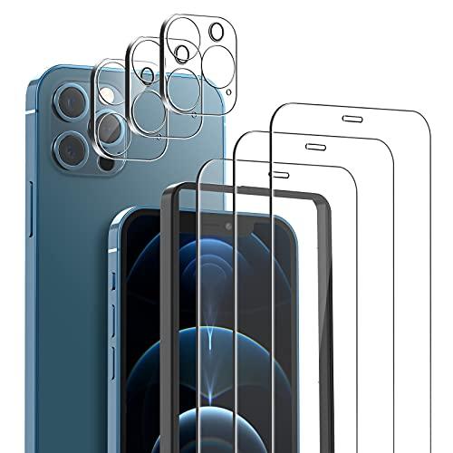mixigoo 3 Pack Cristal Templado para iPhone 12 Pro Max, 3 Pack Protector de Lente de cámara, [Marco Instvalación Fácil] Anti-Burbujas Anti-arañazos Dureza 9H Protector Pantalla para iPhone 12 Pro Max