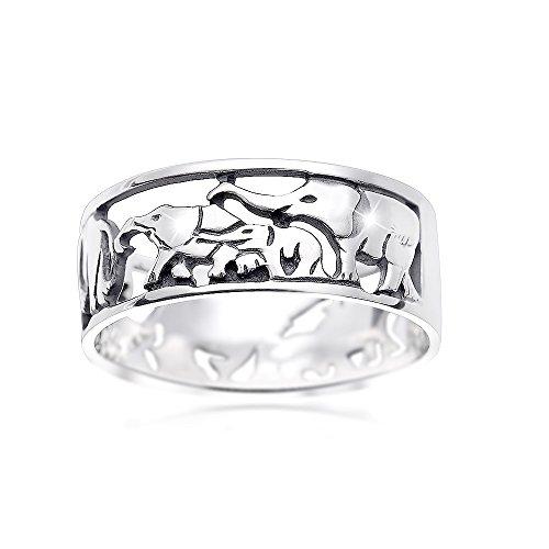 MATERIA Damen Bandring Elefanten Herde mit Baby 925 Sterling Silber afrikanisch Glücksbringer #SR-116, Ringgrößen:59 (18.8 mm Ø)