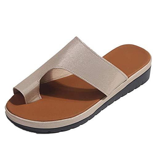 Sandalias para mujer Flips Flops Cómodas zapatillas de plataforma Cómodas señoras Verano Playa Corrector juanetes ortopédico Resbalón en cuña Zapatos antideslizantes casuales Oro 40 EU ⭐