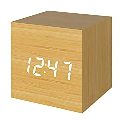Digital Alarm Clock, Micar Wood LED Light Mini Modern Cube Desk Alarm Clock Displays Time Date Temperature for Kids, Bedrooms, Home, Dormitory, Travel
