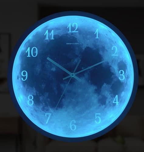 TYPING Luminoso Silenciosos Reloj De Pared con Control De Luz Y Función Luminosa LED De Control por Voz Silencio 30CM,Oro
