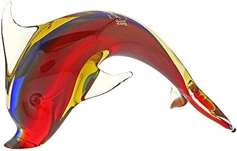 GlassOfVenice Delfín de cristal de Murano, rojo, azul y ámbar