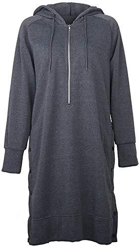 QZUnique Womens Casual Hoodies Dress Button Sides Long Sleeve Sweatshirts Midi Hoodie Dressess