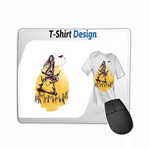 Rechteckiger rutschfester Gummi-Mousepad-Grungy-Gitarrenspieler Rocking Out Print Mock-up-Design-Vorlagenvorlage Isolierte weiße Grungy-Gitarre