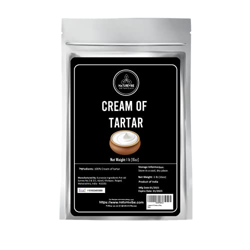 Naturevibe Botanicals Cream Of Tartar, (1lbs) Food Grade | Baking Agent and Household Cleaner