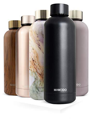 MAMEIDO Trinkflasche Edelstahl - Schwarz Matt - 500ml, 0,5l Thermosflasche - auslaufsicher, BPA frei -schlankeisolierte Wasserflasche,leichtedoppelwandige Isolierflasche