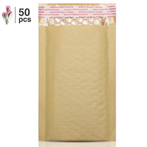 Paquete de 50 sobres acolchados de papel de estraza de Fuluxe, 10 x 20 cm