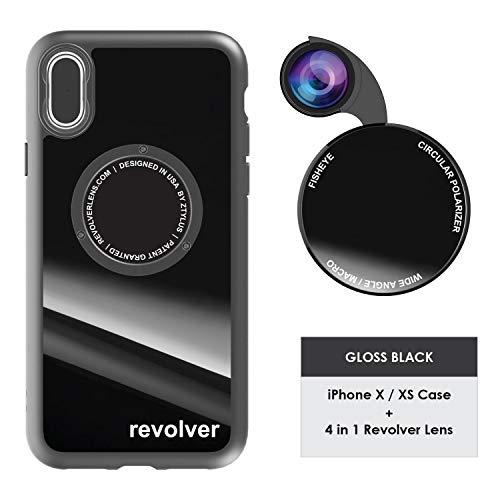 Ztylus Gloss Black Revolver M Series Camera Kit: 4 in 1 Lens with Case for iPhone X/XS – Fisheye Lens, Wide Angle Lens, Macro Lens, CPL (Gloss Black)