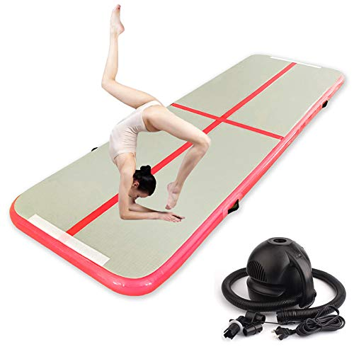 Finewen Air Track Tumbling Mate, esterilla de gimnasia con bomba y bolsa de transporte, colchón hinchable para yoga mate aire para gimnasio, perfecto para las clases Acro o uso 118x40x4', color rojo