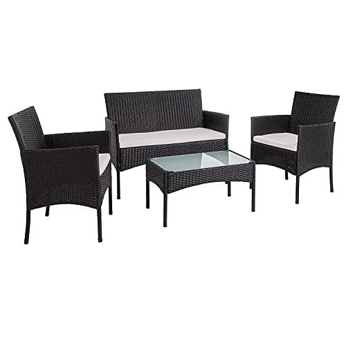 Faziango Poly Rattan Gartenmöbel Set, 4 teilig Garten Sitzgruppe inkl. 2er Sofa, Singlestühle, Tisch und Sitzkissen, Balkonset Gartenstuhl für bis zu 4 Personen