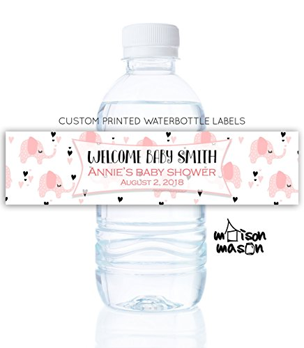 Personalized Baby Girl Water Bottle Labels - Elephant Baby Shower - Set of 10