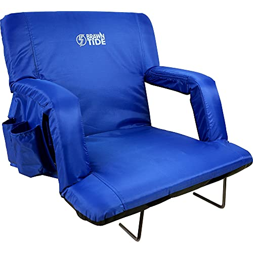 Brawntide Wide Stadium Chair for Bleachers - Stadium Chair with Back Support, Thick Padding, Armrests, Bleacher Strap, Shoulder Straps, Ideal for Sporting Events, Beaches, Parks (Blue, Wide Size)