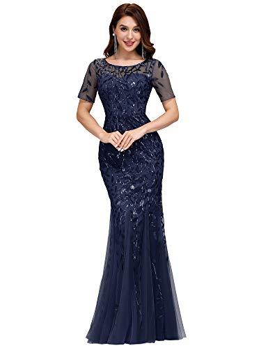 Ever-Pretty Robe de Soirée Sirène Femme Longue Manche Courte Paillettes Tulle Bleu Marine 36