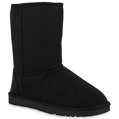 Damen Schlupfstiefel Warm Gefütterte Stiefel Profilsohle Boots 153474 Schwarz Brooklyn 37 Flandell