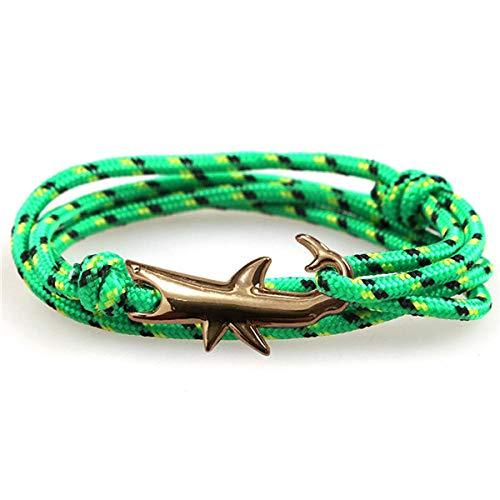 LLXXYY gevlochten armband, vintage gevlochten touw handgemaakte Bangle/anker gouden haai ketting sport paracord verstelbare groene armbanden/voor mannen woen kinderen charme sieraden cadeau