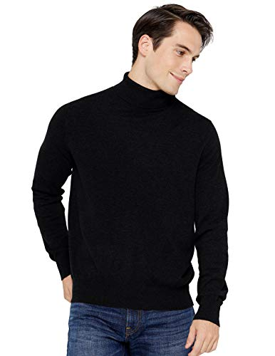 State Cashmere Men's Classic Turtleneck Sweater 100% Pure Cashmere Long Sleeve Pullover (Medium, Black)