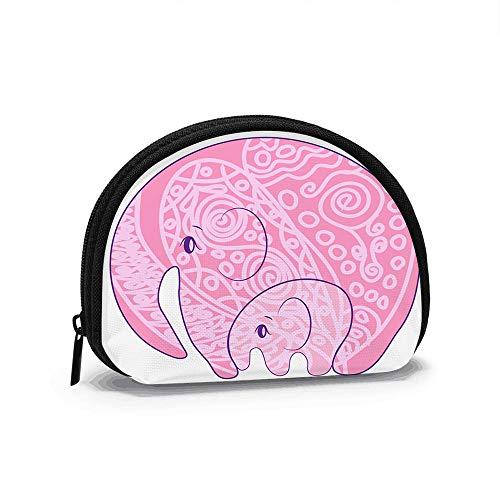 India Parsley Ed Elephant Oriental Indian Animals Animal Coin Purse Change Cash Bag Zipper Small Purse Wallets Cosmetic Bag Storage Bag
