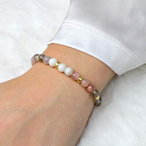 Echtes Mondstein Armband Damen, elastisch, 925 Silber oder vergoldet, perfekte Geschenk-Idee zum Geburtstag