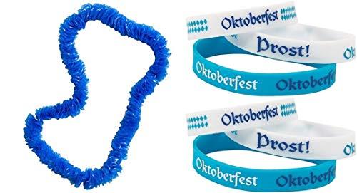 HAPPY DEALS ~ Oktoberfest Party Pack | 12 Pc Oktoberfest Blue Poly Leis and 12 Pc Oktoberfest Bracelets