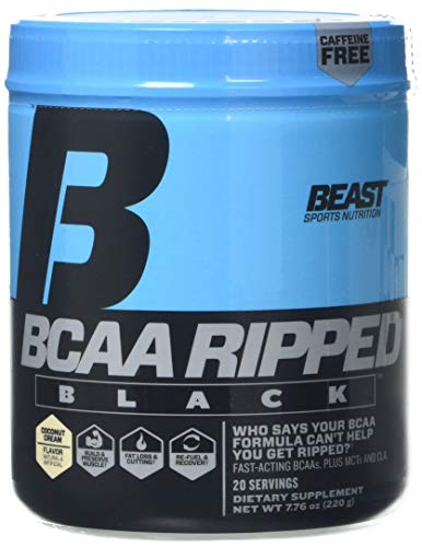 Beast Sports Nutrition BCAA Ripped Black Supplement, Coconut Cream
