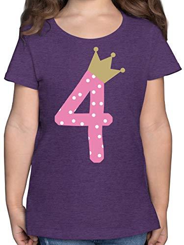 Geburtstag Kind - 4. Geburtstag Krone Mädchen - 116 (5/6 Jahre) - Lila Meliert - Tshirt 4 Geburtstag mädchen - F131K - Mädchen Kinder T-Shirt